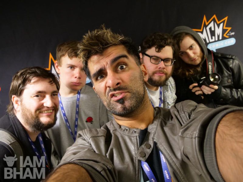 Journalists in the press room (L-R): Dave Massey from BrumHour, Kallen Daynes from Geeky Brummie, Adam Yosef from I Am Birmingham, Ryan Parish from Geeky Brummie on Brume Radio, and Harvey McDonald for I Am Birmingham