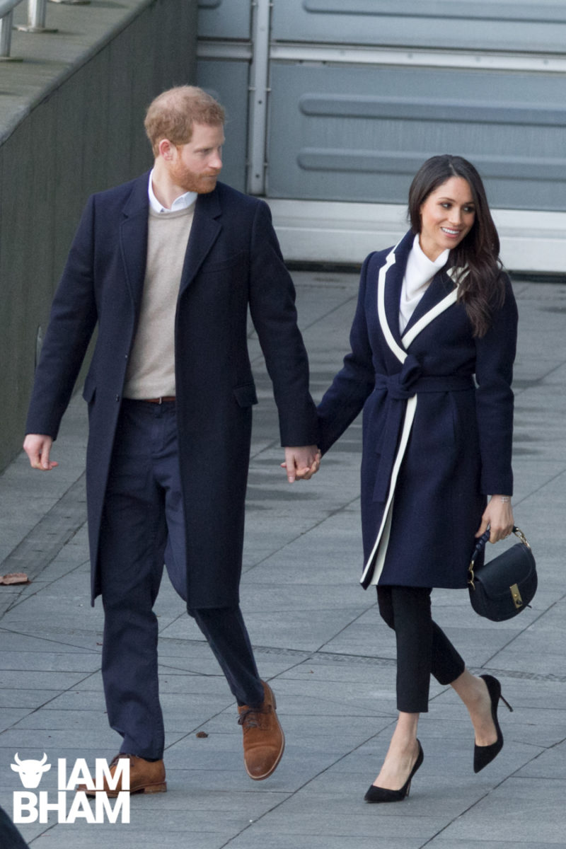 Prince Harry and Meghan Markle leaving Millenium Point to celebrate International Women's Day and inspire young women pursuing STEM careers, in Birmingham, UK. 08 March, 2018