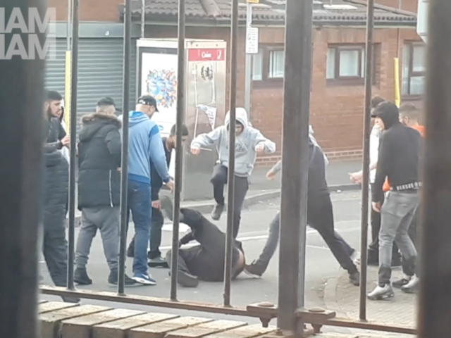 A group of young men in Birmingham began attacking a man who appeared to be wielding a machete in Aston