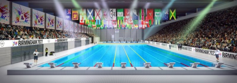 Artistic concept art of an aquatics centre in Birmingham for the 2022 Commonwealth Games bid