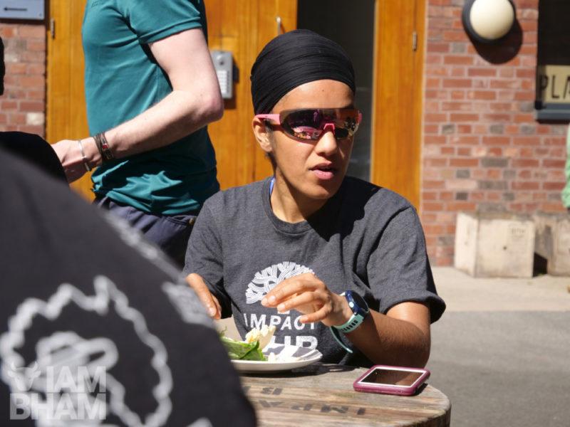 Impact Hub Birmingham co-founder Immy Kaur enjoying a lunch in the sun at the creative venue in Digbeth