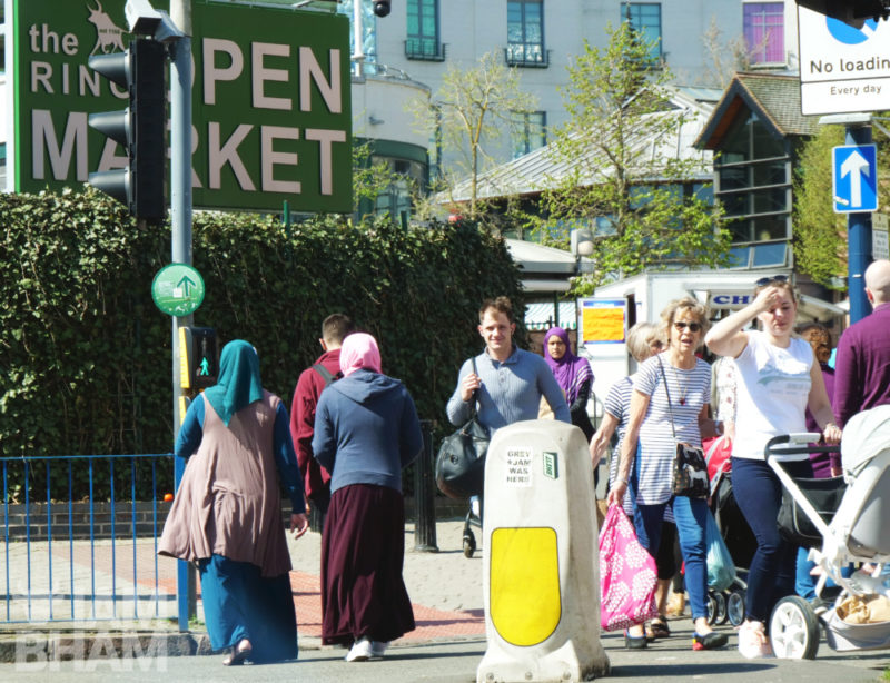 Brummies crossing over outside the Birmingham Open Market