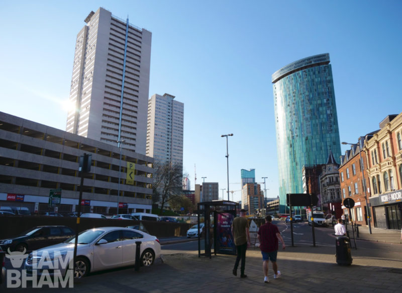 Clear skies over Holloway Circus in Birmingham city centre, with the Sentinels (Cleveland Tower and Clydesdale Tower) standing tall alongside Beetham Tower