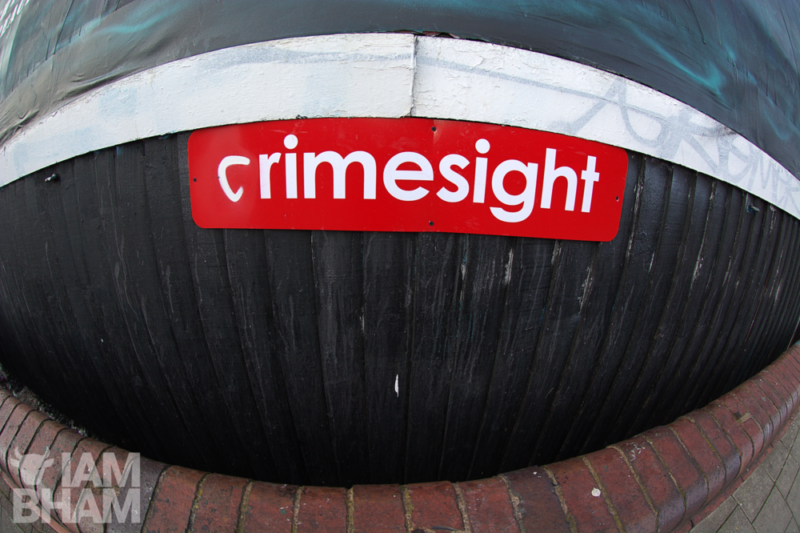 Advertising brand name 'Primesight' changed to 'Crimesight' by artist Void One, on his 'Death From A Dove, Fighting For Peace' billboard mural