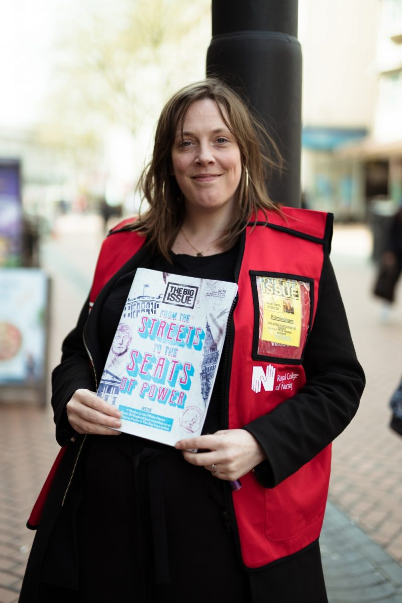 Jess Phillips selling The Big Issue in Birmingham