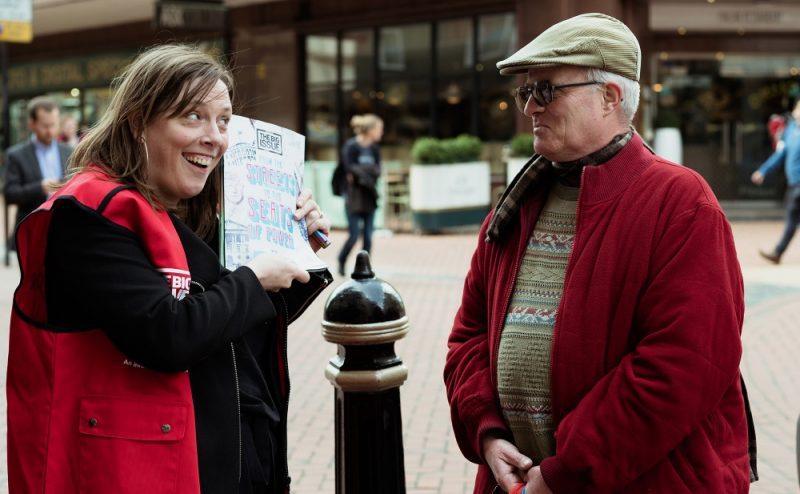 Jess Phillips encouraging Brummies to grab a copy of The Big Issue