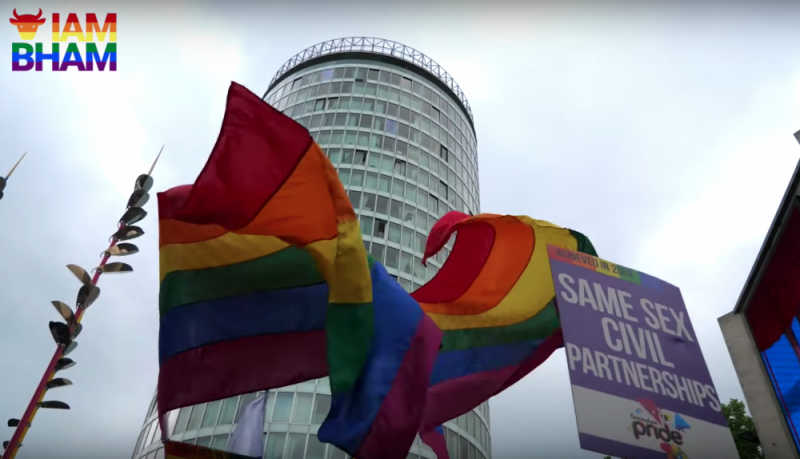 Rainbow flags in front of Birmingham's iconic Rotunda during last year's Birmingham Pride parade in the city