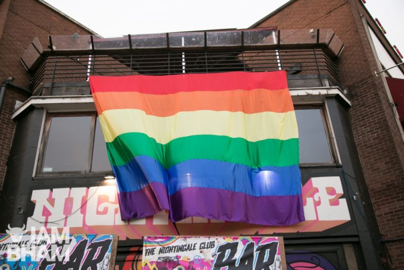 Birmingham's Nightingale club with rainbow flag