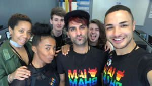 (L-R): James Marson (3rd from left) with the I Am Birmingham team, including Denise Maxwell, Adam Yosef, Harvey McDonald, Adam Yosef and Joshua Williams
