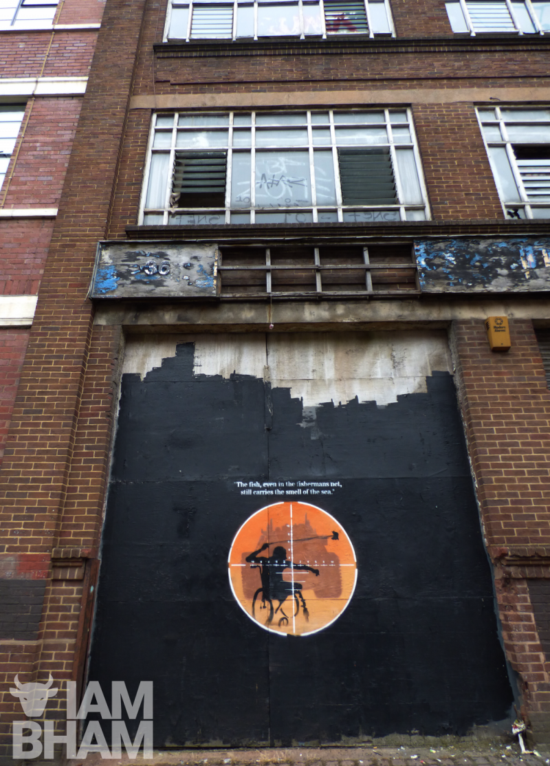 The political artwork, believed to be by Mohammed 'Aerosol Arabic' Ali, has appeared on a derelict building int he Digbeth area of the city
