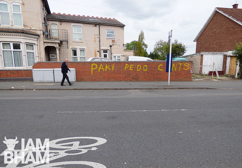 "Hate speech, including the slur ""Paki"" was spray painted onto properties in Small Heath in Birmingham"