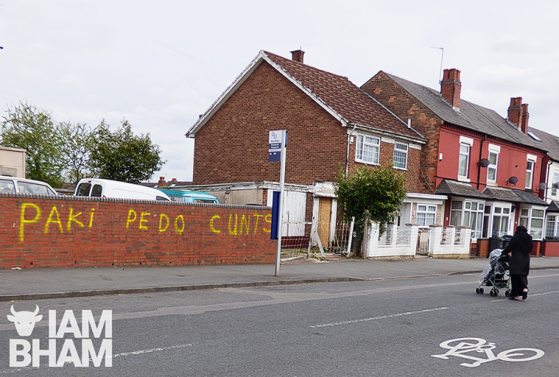 Offensive graffiti was discovered on properties in the Small Heath of Birmingham