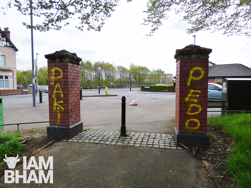 "The words ""Paki Pedo"" daubed at the entrance of a park in Small Heath in Birmingham"