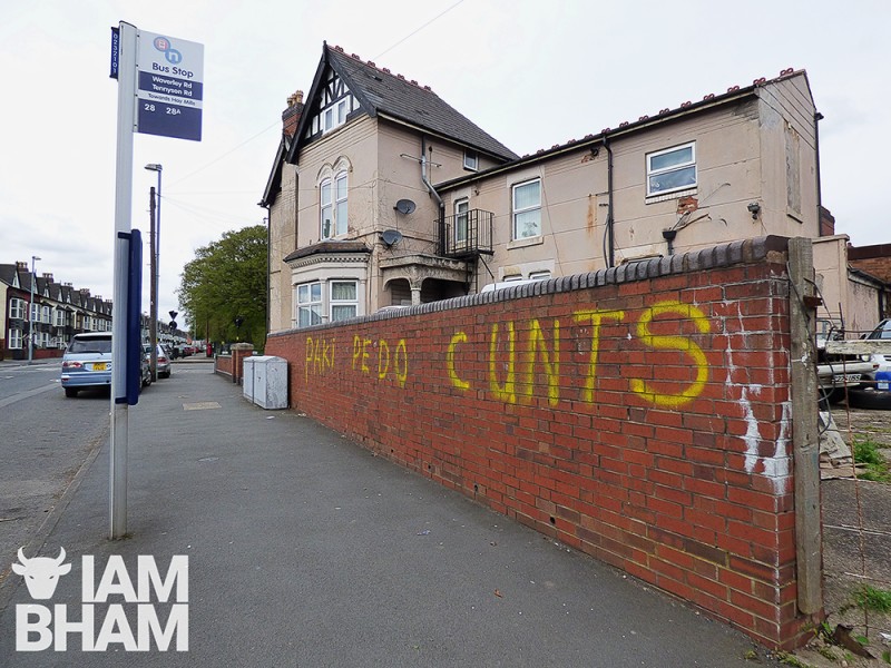 The racially-charged hate messages were sprawled near schools and parks in Small Heath, Birmingham