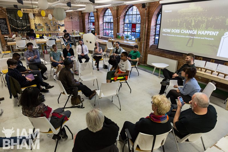 """How Can Change Happen?"" organised by Flatpack Festival in association with Yellow Wednesday and Free Radical, at the Impact Hub Birmingham Photo © Paul Stringer (www.paulstringer.co.uk)"