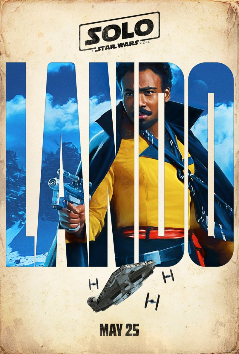 An official promotional poster for Solo: A Star Wars Story, featuring Donald Glover as Lando Calrissian