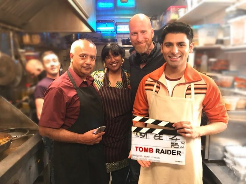 Antonio Aakeel on set with Tomb Raider film director Roar Uthaug