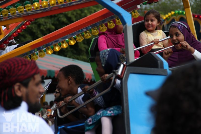 Fairground rides at the Birmingham 'Celebrate Eid' event in Small Heath Park