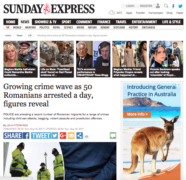 IRRESPONSIBLE JOURNALISM: The Daily Express reporting on 'Romanian crime rates' in the UK