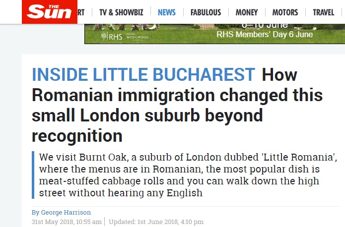 "How The Sun reports the impact of the Romanian population on a ""small"" London suburb, suggesting the immigrant population has negatively dominated the area"