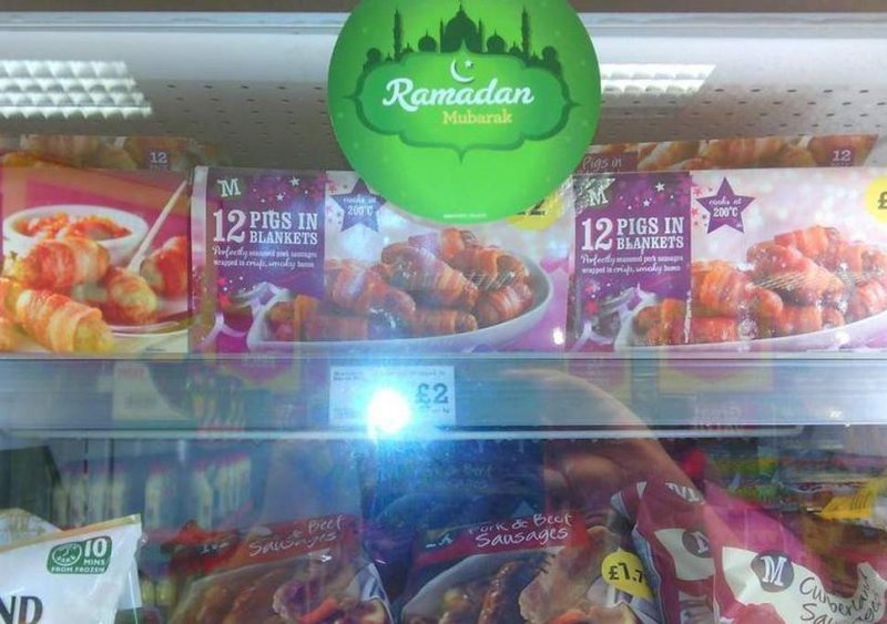 A Morrisons in West Hounslow was left red-faced after promoting pork products as special offers or Ramadan