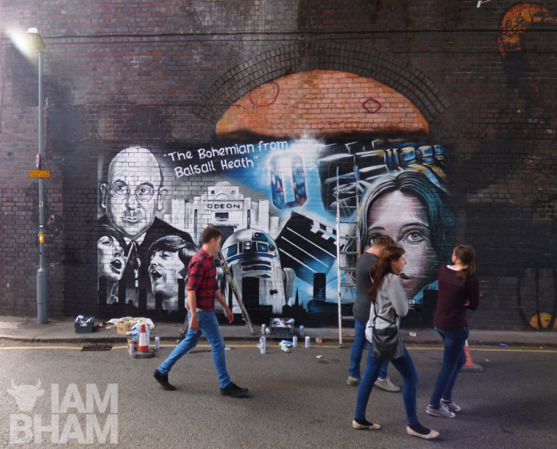 The Odeon Luxe street art mural in the Custard Factory in Birmingham