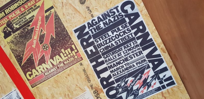 Posters at a new Manchester exhibition marking the 40th anniversary of the Northern Carnival against the Nazis