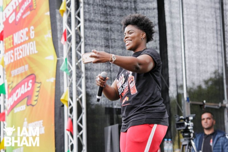 Janel Antoneshia performs on the main stage at Simmer Down Festival 2018