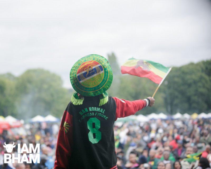 Flying the Lion of Judah Haile Selassie Ethiopian flag at Simmer Down Festival 2018 in Birmingham