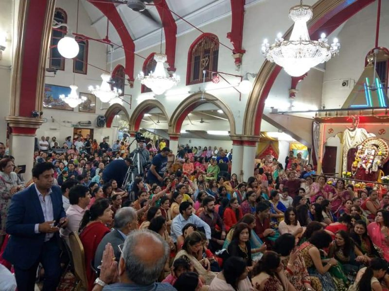 Devotees at the Shree Geeta Bhavan Mandir in Handsworth