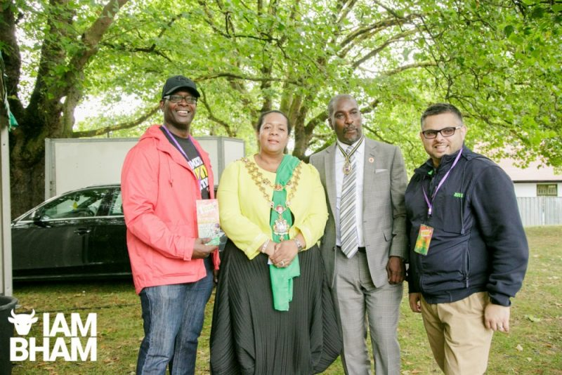 Birmingham Lord Mayor Yvonne Mosquito with her husband Winston (second right) and fellow councillor Waseem Zaffar (right) at Simmer Down Festival 2018