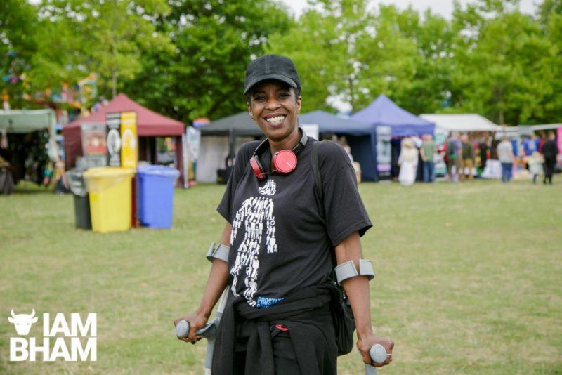 A reveller enjoying the Simmer Down Festival 2018 in Handsworth Park in Birmingham