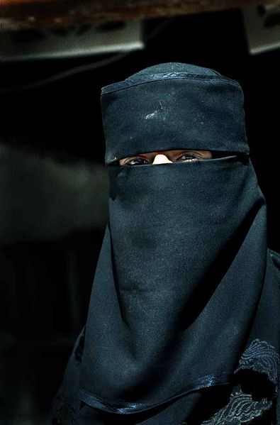 "A Muslim woman wearing the face veil, known as a 'niqab' but often mistaken for a ""burqa"""