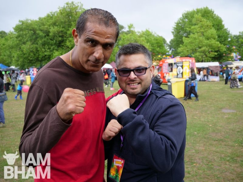 Councillor Waseem Zaffar and Kash the Flash at Simmer Down Festival 2018 in Handsworth Park in Birmingham