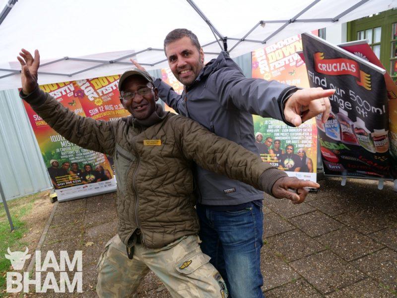 'Mr Handsworth' Hector Pinkney and Vimal Korpal at Simmer Down Festival 2018 in Birmingham's Handsworth Park