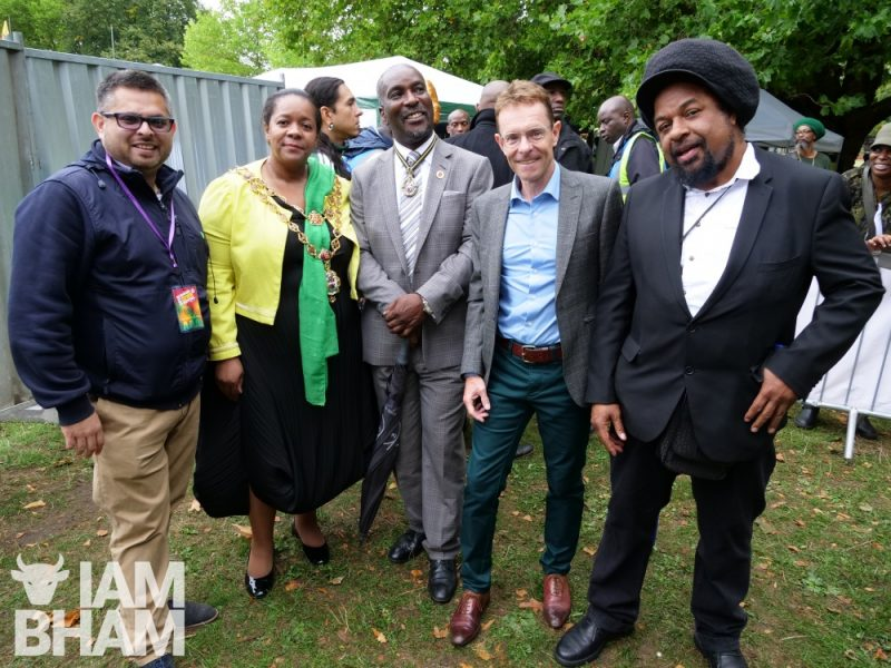 VIP guests and politicians at Simmer Down Festival 2018 with Waseem Zaffar, Birmingham Lord Mayor Yvonne Mosquito, Winston Mosquito and WM Mayor Andy Street