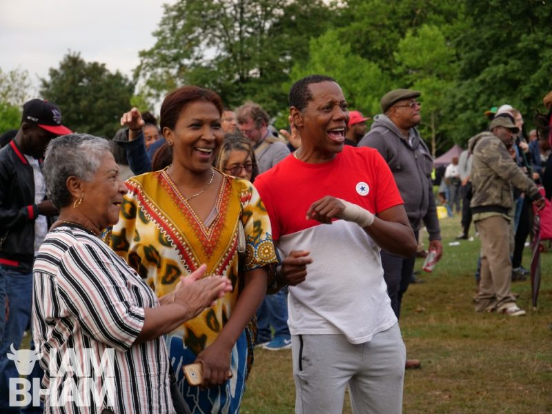 Attendees and artists at the Simmer Down Festival 2018 in Handsworth Park in Birmingham in a photo by Adam Yosef