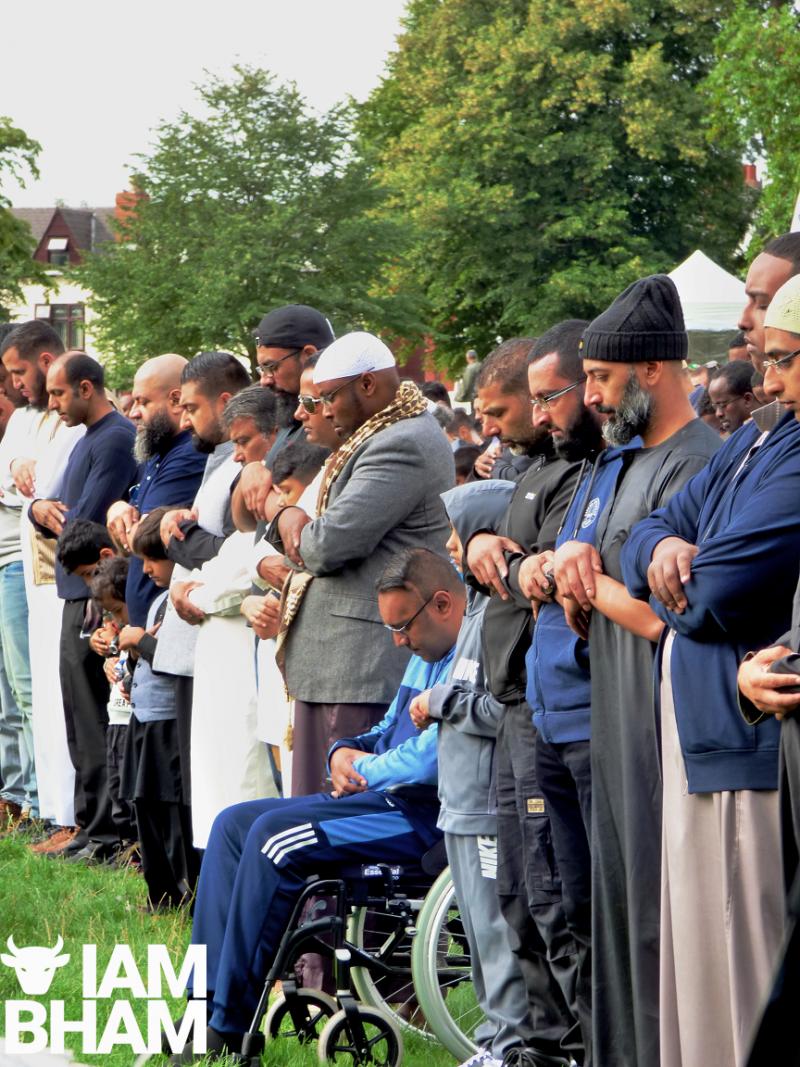 Muslims gathered in Small Heath Park for Eid prayers in Birmingham