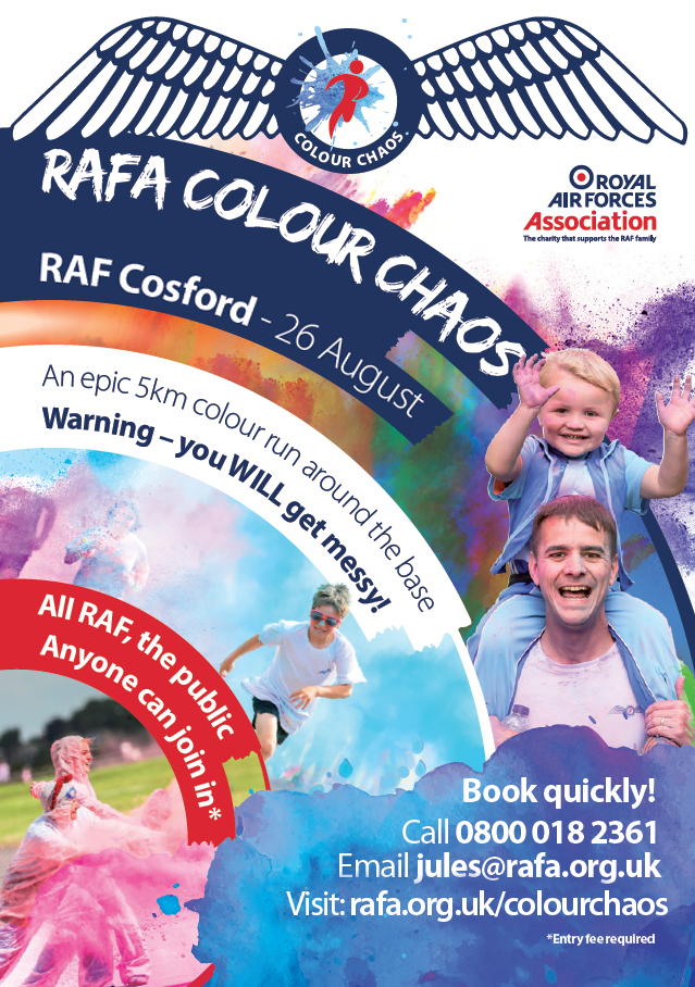 This fun family event, open to the general public, is being held within the grounds of RAF Cosford and will entail approximately 5km of colourful fun