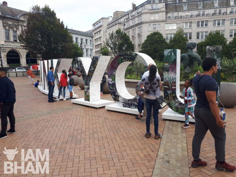 "Giant ""Thank You"" installation in Victoria Square in Birmingham by the Royal British Legion to mark 100 years since the First World War"