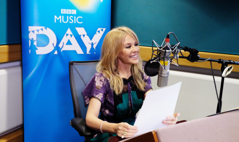 Kylie Minogue has been recording light-hearted train announcements for stations across the UK,  as part of BBC Music Day