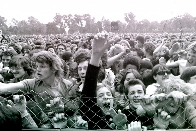 This photograph of the front row action at Alexandra Park by John Sturrock is part of the Northern Carnival Against the Nazis: 40th Anniversary project