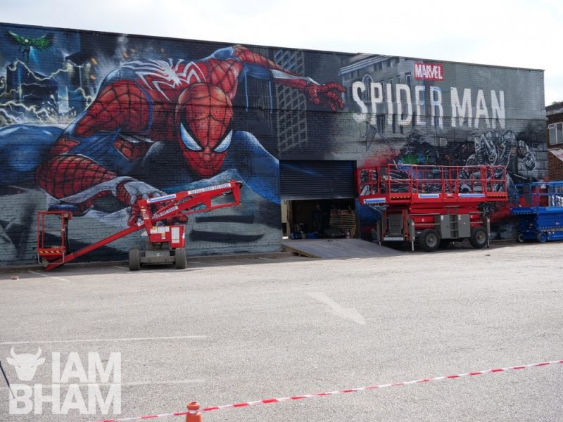The finished PS4 Spider-Man mural in Digbeth, created by artist Jim Vision from London