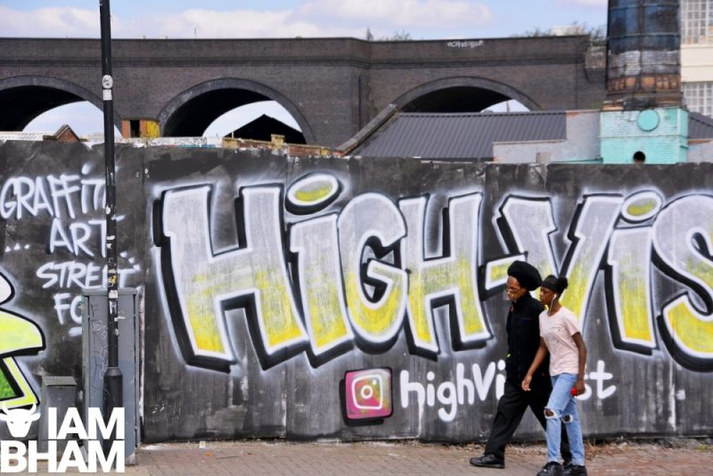 Visibly stunning publicity for the High Vis Fest along Digbeth High Street in Birmingham