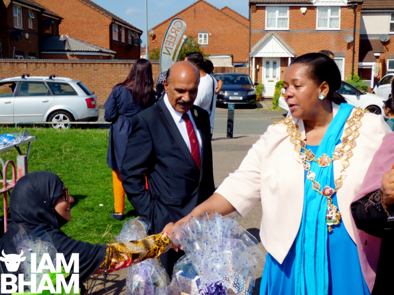 The Lord Mayor and Chaudry A Khaliq arrive at The Green in Priorygate Way, Bordesley Green