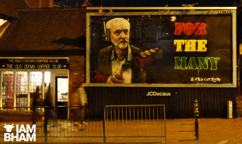 Void One's latest protest art has been painted onto a billboard next to The Old Crown pub in Digbeth