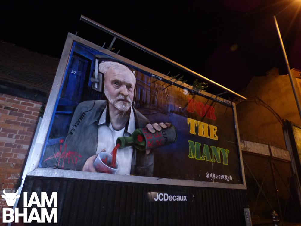 Birmingham artist paints Jeremy Corbyn's face on massive billboard during Tory conference