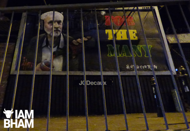 "Jeremy Corbyn appears on the billboard alongside the ""We Are Many"" motto"