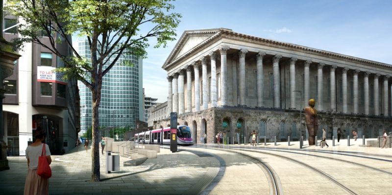 The extension of the Midland Metro to Broad Street and Centenary Square is expected to be open for service in late 2019