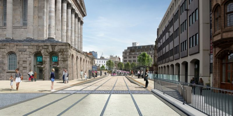 Construction for the first phase of the Birmingham Westside extension to Centenary Square is already underway